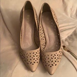 Beige lattice heels by Restricted